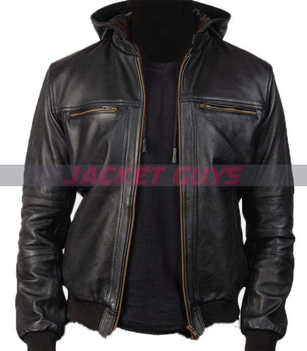 purchase now mens black hooded leather jacket buy now