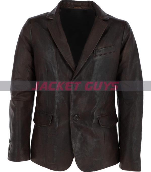 mens dark brown leather blazer on sale
