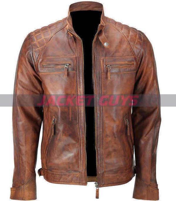 for sale mens brown distressed leather jacket