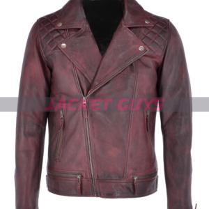 get now men distress burgundy leather jacket