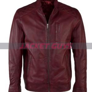men burgundy leather jacket on sale