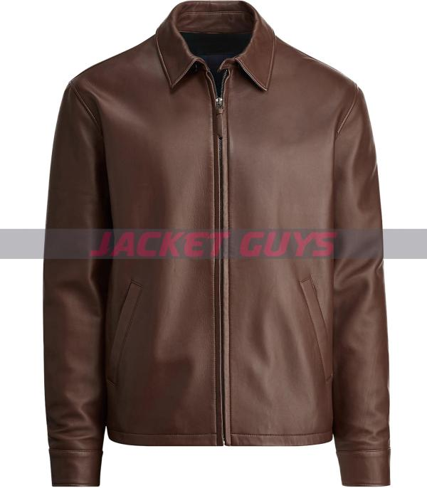 mens dressy brown leather jacket buy now