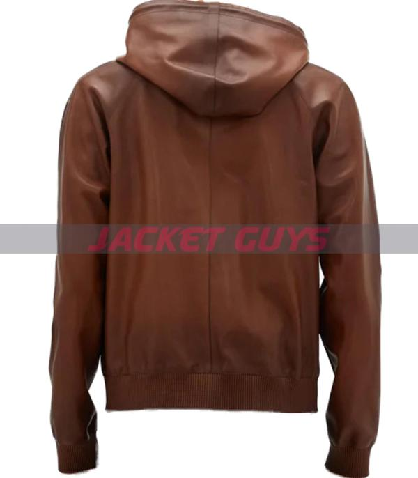 on sale mens hooded leather bomber jacket