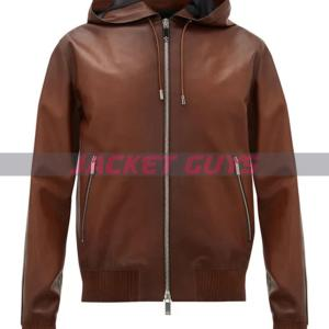 mens hooded leather bomber jacket buy now