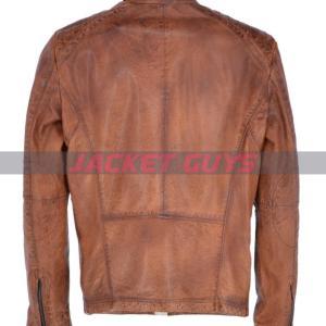buy now men light brown biker leather jacket