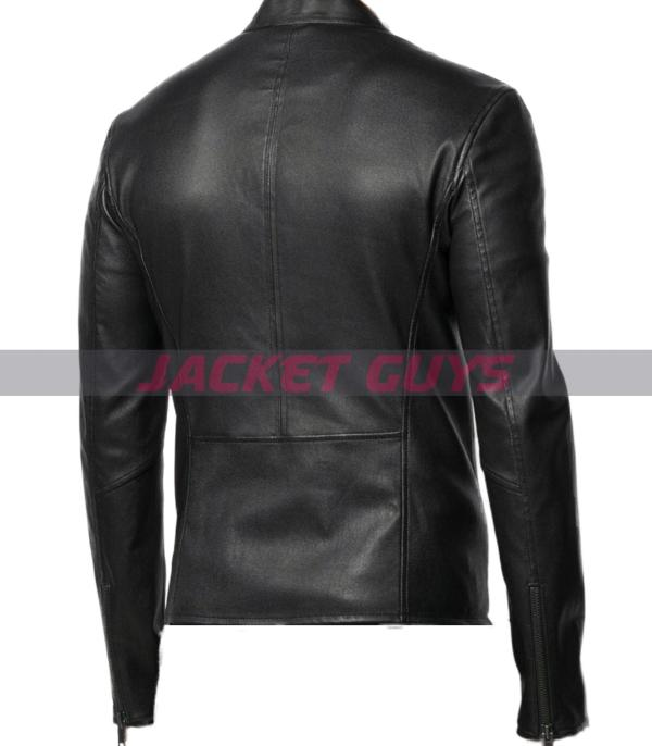 mens round neck leather jacket purchase now