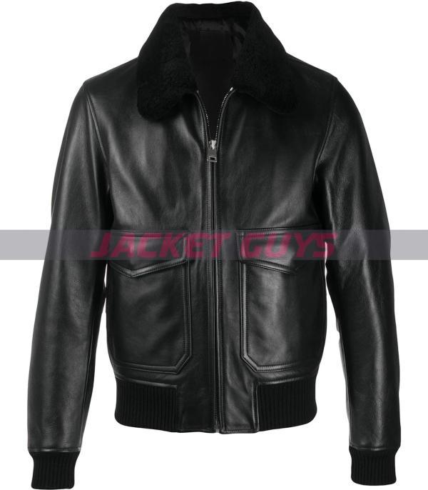 mens aviator black leather jacket get now
