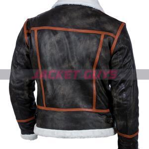 buy now mens black shearling orange stripe leather jacket