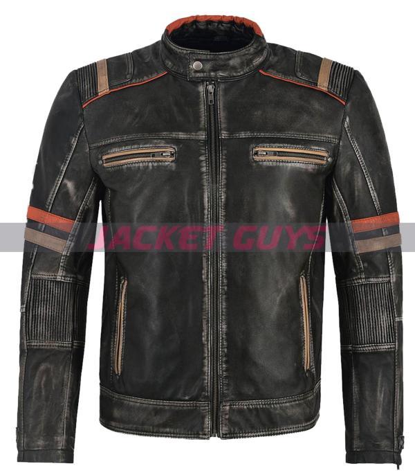 men's distress leather jacket buy now