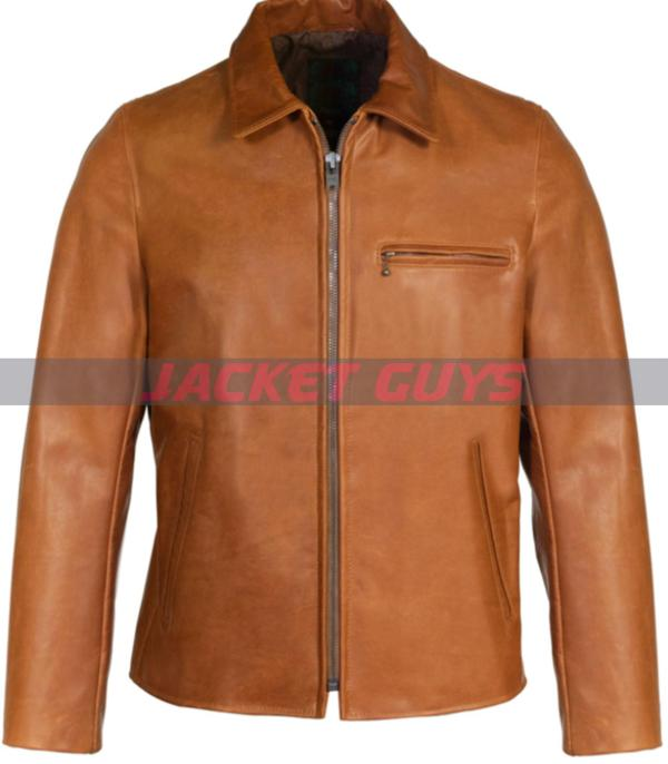 mens tan brown leather jacket on sale buy now