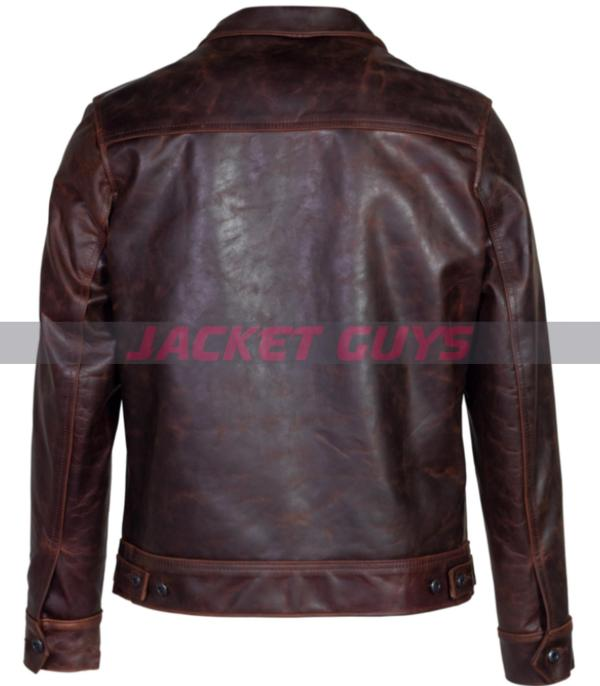 on sale mens vintaged trucker leather jacket