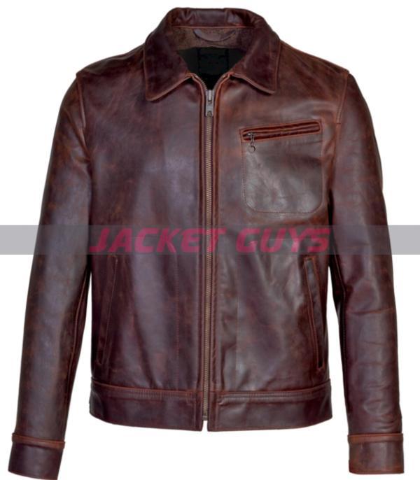 buy now mens vintaged trucker leather jacket