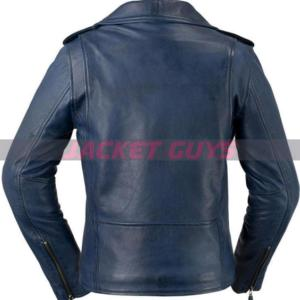 for sale women blue leather jacket