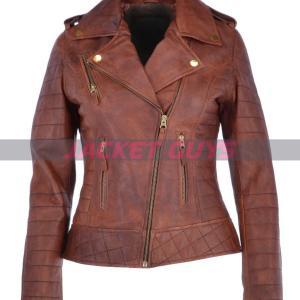 ladies brown biker leather jacket on sale