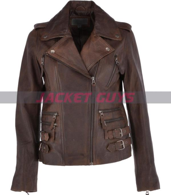 on discount ladies brown biker leather jacket