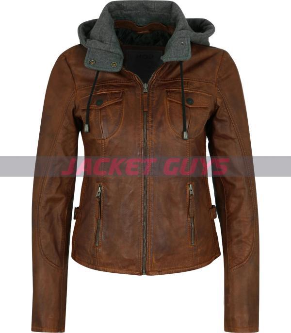 women hooded leather jacket on sale