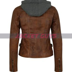 purchase now women hooded leather jacket