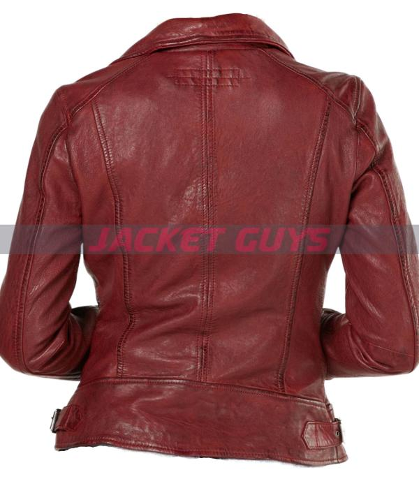 buy now dark red distress leather jacket