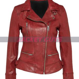 dark red distress leather jacket shop now