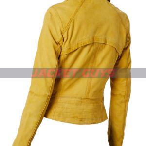 buy now ladies yellow distress leather jacket