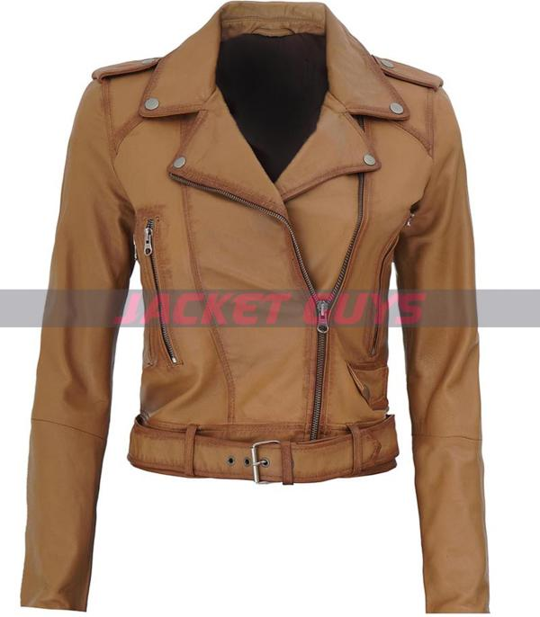 buy now women light brown leather jacket