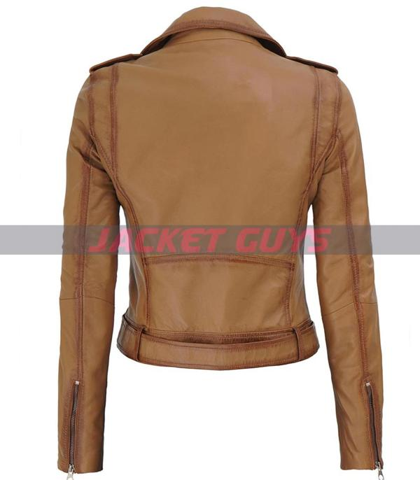 on sale women light brown leather jacket