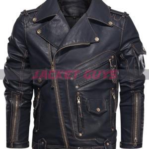 men heavy duty biker leather jacket on sale