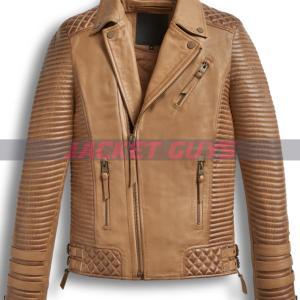on sale men brown distress leather jacket