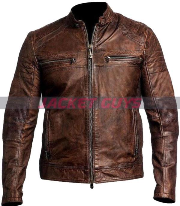 men brown cafe racer leather jacket on sale