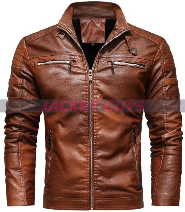 buy now distressed brown leather jacket for men