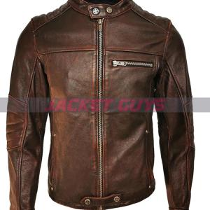 buy now men brown leather jacket on sale