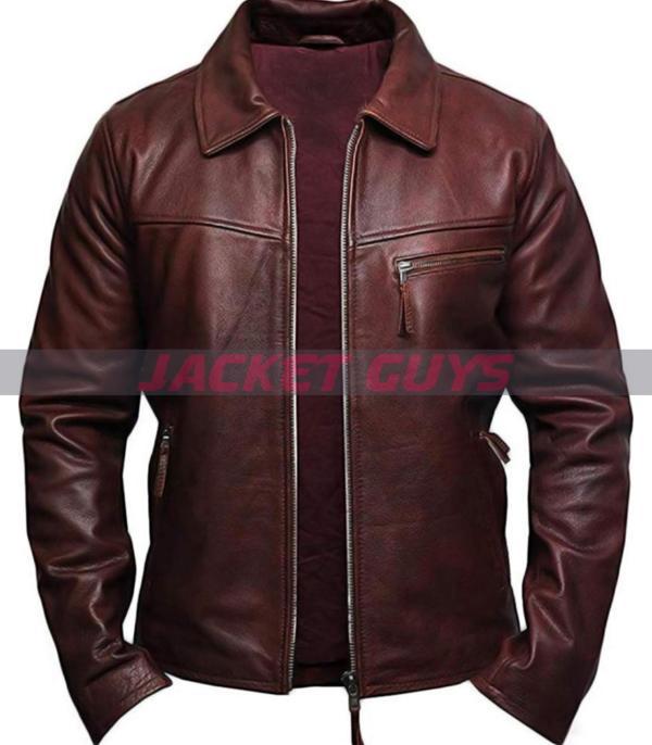 men brown red leather jacket on sale