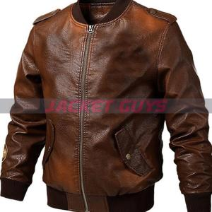men brown sleek leather jacket on sale