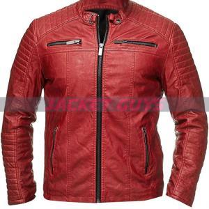 men red cafe racer leather jacket on sale