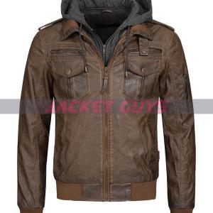 buy now men dark brown hooded leather jacket
