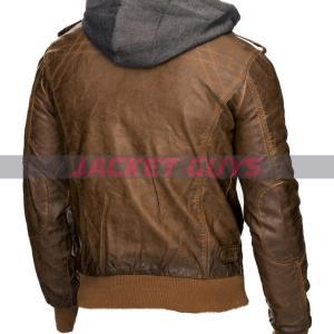 on sale men dark brown hooded leather jacket