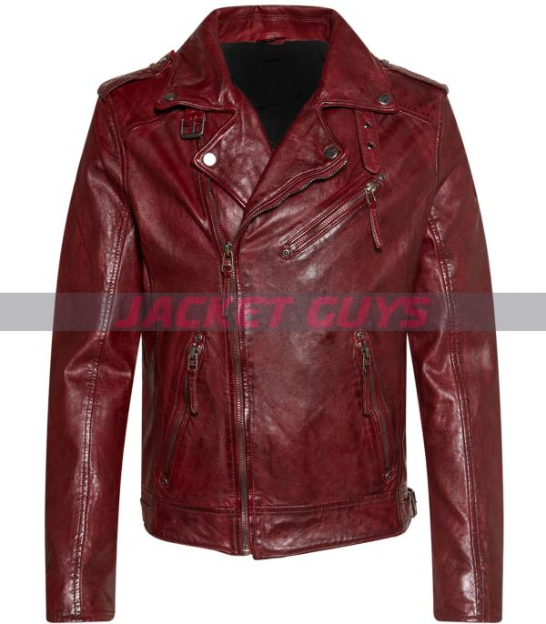 buy now men dark red distress leather jacket