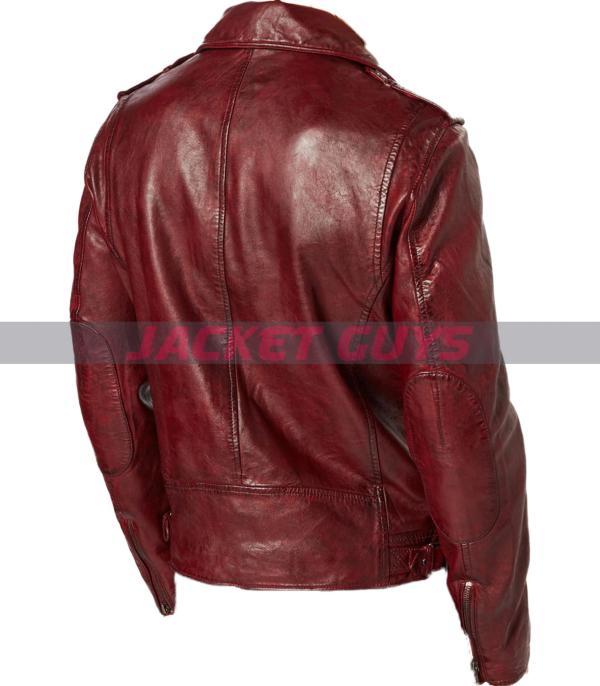 on sale men dark red distress leather jacket