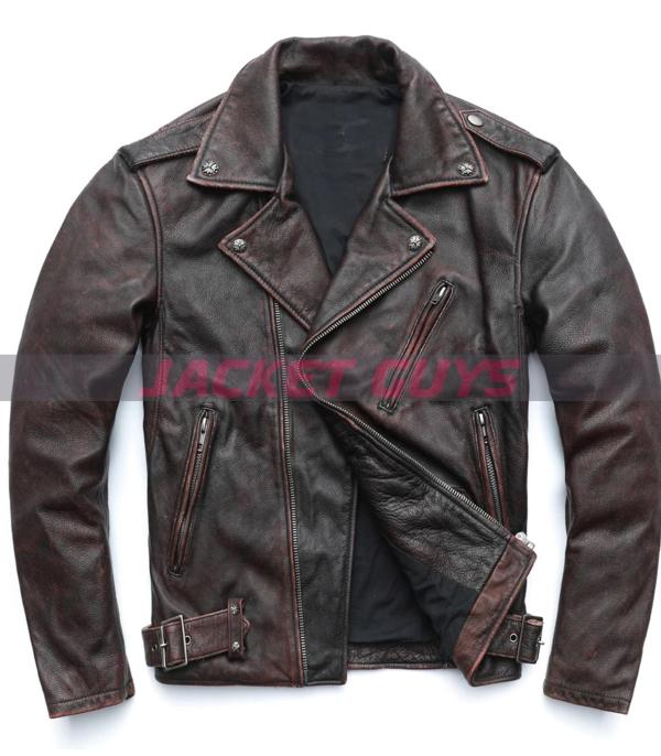 men' distress cowhide leather jacket on sale