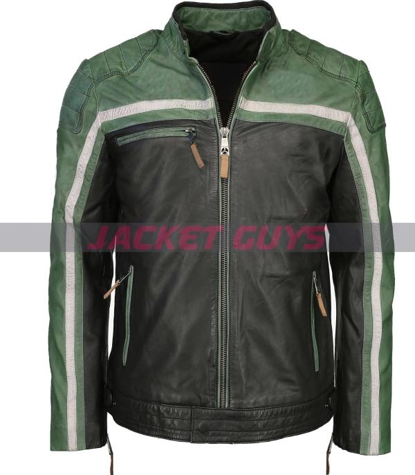 shop now men green white leather jacket purchase now