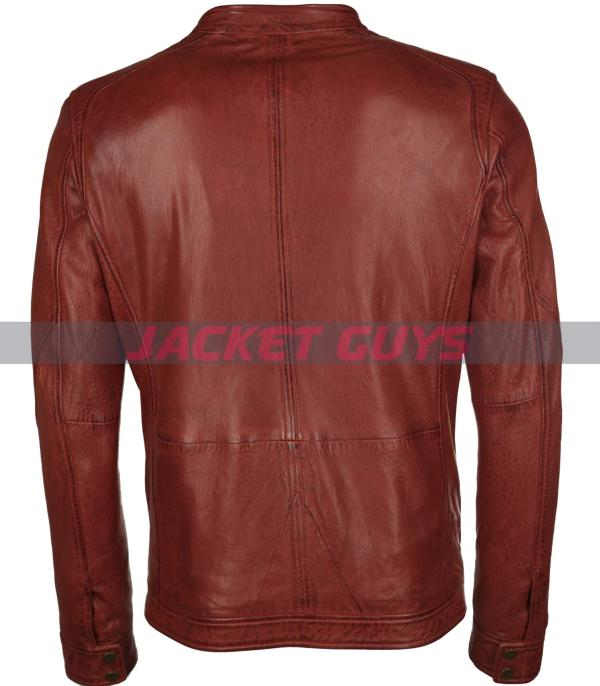 get now men distress red leather jacket shop now
