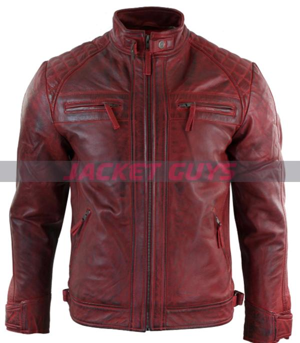 men red distressed leather jacket on sale