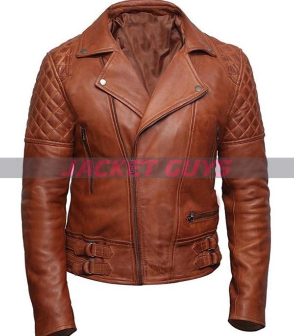 men tan brown biker leather jacket on sale