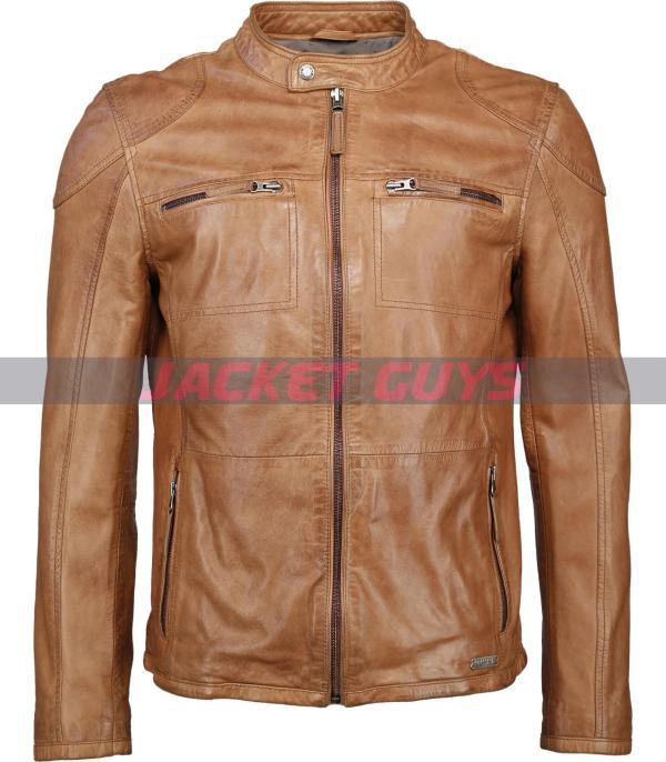 buy now men tan brown distress leather jacket