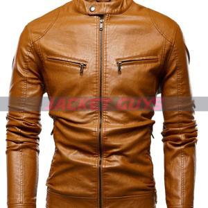 buy now men tan brown leather jacket