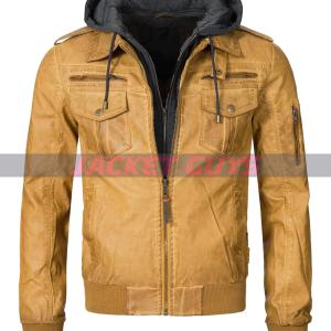 buy now men yellow hooded distress leather jacket on sale