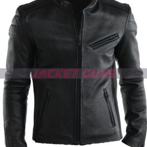 shop now mens black leather jacket