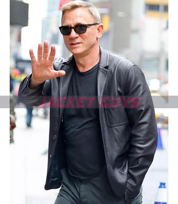 daniel craig black leather blazer on sale