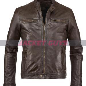 mens dark brown leather jacket for sale