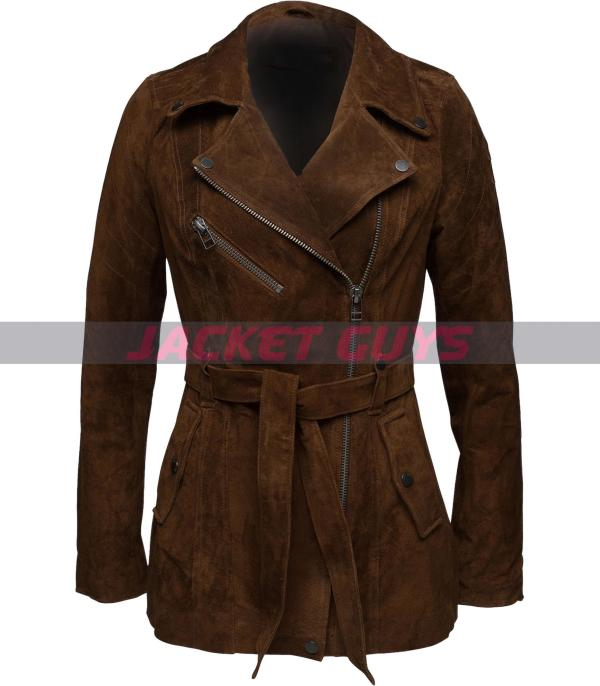 buy now dark brown suede leather jacket for women